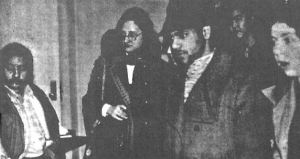 """TYPICAL SDS CONTINGENT at City College of New York. This group, headed by the Jewess in the center, has as its only White member the slack-jawed specimen on the right. SDS is recruiting not just Negroes, but half-castes of every shade and racial background, all united in their hatred of the White """"ruling class."""""""