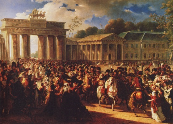 "A TRIUMPHANT NAPOLEON leads his troops through the Brandenburg Gate into Berlin on October 27, 1806, thirteen days after annihilating the Prussian Army at Jena and Auerstädt. This pro-French painting, by Charles Meynier, scarcely exaggerates the acclaim turncoat Berliners showered on the emperor. Prominent among the supporters of the French conquerors were the members of a race synonymous with treachery. As one historian put it, ""Only the Jews were wholeheartedly and unhesitatingly pro-French, since they knew that one of the [French] revolutionary principles was their political and social emancipation . . .""  Fichte, even when he had tended to support the ideals of the French Revolution, pointedly excluded the Jews from consideration as German citizens. In anticipation of the National Socialist program, he advocated their deportation from Germany."